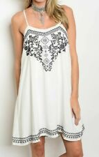 NWOT POEMA S WHITE BLACK BOHO FLORAL AZTEC STRAPPY MINI OVERSIZE SHIFT DRESS