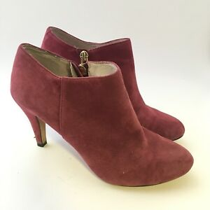 Vince Camuto Ankle Booties 6 M Vive Purple Suede Boot Zip Up Stiletto Heel