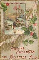Belgrade Minnesota~Christmas Greeting~Fellow on Horse~1915 Postcard