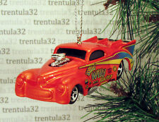 WILD WILLY RACING 1941 WILLYS DRAGSTER '41 ORANGE CHRISTMAS TREE ORNAMENT XMAS