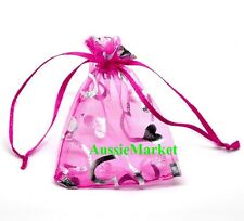 40 x organza gift bags fuchsia pink heart pouch favour party jewellery beads new