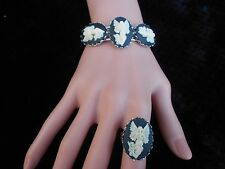 3 CAMEO GUARDIAN ANGEL BRACELET & MATCHING RING SET - RELIGIOUS