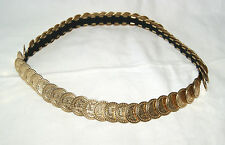 "Vintage 80's Ladies Gold Metallic Coin Disk Stretch Belt -1"" W"