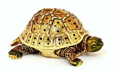 Move able Neck Turtle Trinket Box. Hand Made with Swarovski Crystals & Enamel