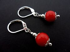 A PAIR OF  PRETTY RED CORAL BEAD  LEVERBACK HOOK  EARRINGS. NEW.