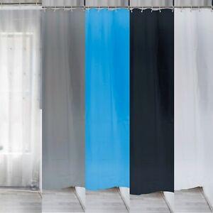 Bathroom Plastic Shower Curtain Waterproof Plain 12 Hook Mildew Splash Resistant