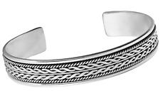 Mens, Womens Solid 925 Sterling Silver Bangle Bracelet Braied Detailing
