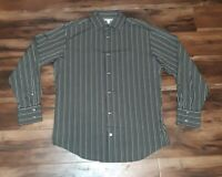 BANANA REPUBLIC MENS LONG SLEEVE Green  STRIPED DRESS SHIRt Size. Large 16-16.5