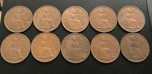 *EX RARE* 10x Key Date 1953 Queen Elizabeth II Pennies 1d's