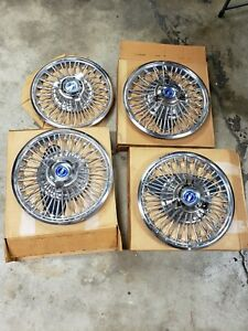 60s Ford 65 66 67 Mustang Wire Hubcaps Spokes Hub Cap Caps Set Nos Rare 14""