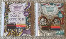Lot Of 2 New Motivational & Animals Adult Coloring Books w/ Pencils BN Grown Up