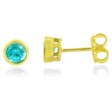 1.75ct BLUE APATITE MADAGASCAR 925 STERLING SILVER 14K GOLD STUD EARRINGS MP101