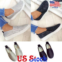 Women's Casual Slip On Flat Single Loafer Glitter Flat Round Toe Boat Shoes US