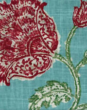 Drapery Upholstery Fabric Blended Linen Large Scale Floral - Aqua Multi