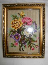 STUNNING HAND STITCHED FRAMED UNDER GLASS TAPESTRY