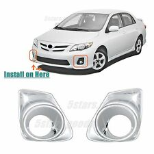 Accessories Chrome Pair Front Fog Light Covers For Toyota Corolla 2011-2013