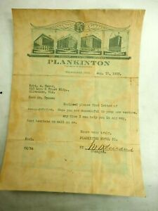 The Plankinton Hotel Milwaukee Wiscons Letter of Recommendation letter Aug.1923