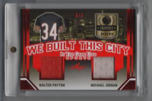 Michael Jordan Walter Payton 2019-20 Leaf JERSEY 3/3 #WBTC-01 071621MLCD6