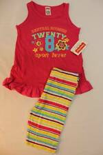 NEW Toddler Girls 2p Outfit 2T Pink Tank Top Shirt Striped Capri Pants Set Sport
