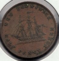 1843 - New Brunswick - Ship / Victoria - ½ Penny - Superfleas - NB-1A2