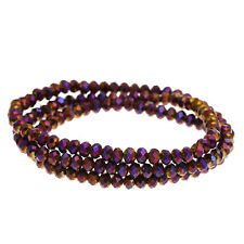 1 STRAND PURPLE AB CRYSTAL FACETED RONDELLE BEADS ~4mm~APPROX 154 BEADS  (6H)