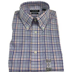 Lauren Ralph Lauren Mens Regular Fit Check Plaid Stretch Dress Shirt 16 32-33