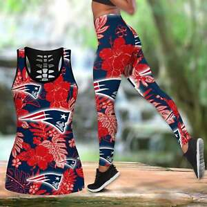 New England Patriots Womens Tank Top Leggings 2PCS High Waist Stretch Yoga Pants