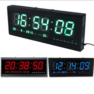 Hot Digital Large Big Jumbo LED Wall Desk Clock With Calendar Temperature New