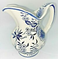 """Vintage Blue And White Pottery Creamer Pitcher Cottage Core 4.5"""" Tall"""
