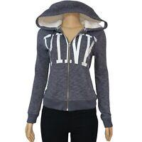 VICTORIAS SECRET PINK Logo Sweatshirt Jacket Hoodie Full Zip Sherpa Hood XS