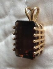 14K YELLOW GOLD SMOKY QUARTZ PENDANT ~ QVC