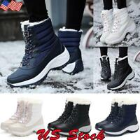 US Women's Ladies Fur Lined Anti-Slip Snow Boots Winter Warm Outdoor Ankle Shoes