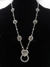 a5b9321c6d8f New Antiqued Silver Eyeglass Holder Necklace with Roses   Heart Pendant   Z2030