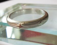 Mokume Ring with Sterling silver liner in Size 5