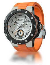 DeNovo DN2020-24WOO Mens Orange Swiss Made Chrono Watch Rubber Strap White Dial
