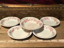 Antique Vintage Ridgways Rhodesia, 6 Small Dipping / Finger Bowls Pink Floral