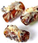 Lampwork Handmade Glass Amber Taff Lizard Hug Tree Beads (4)
