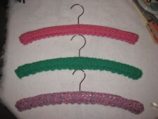 3 WOOD CLOTHES HANGERS W/ CROCHETED COVERS – GREEN, PINK, TWEED
