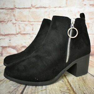 Womens Peacocks Black Zip Up Mid Heel Ankle Boots Shoe Size UK 6 EUR 39