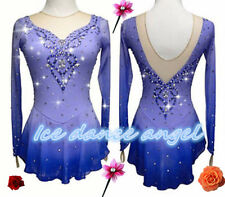 New Girls Women Bule Ice Figure Skating Dress For Competition dying handmade