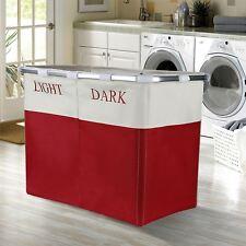 Vinsani Light & Dark 2 Section Folding Laundry Sorter Washing Basket Bin - Red