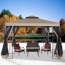 Garden Gazebo Canopy 10' x 10' Patio Double Roof Vented w/ Mosquito Netting Sand
