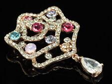 wedding prom flower colors crystal teardrop C Z stone gold flower brooch pin F99