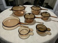 Corning Vision Cookware Amber Set - 12 Pieces - Vgc! Usa & France Skillet