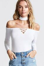 NWT AMBIANCE Forever 21 Lace Up Mock Choker Off Shoulder Knit Shirt Top Blouse L