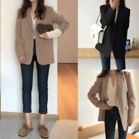 Womens Long Sleeve Slim Fit Blazer Suit Ladies Casual Lapel Trench Coats Outwear