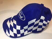 Retro Ford Racing Embroidered White Diamond checkered flag motif baseball cap