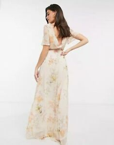 Hope And Ivy Size 10 Maxi Dress Floral Bridesmaid Asos Cowl Back