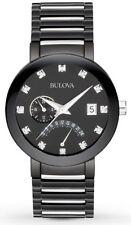 Bulova Men's 98D109 Diamond Accent Black Tone Stainless Steel Bracelet Watch