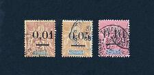 """MADAGASCAR # 51-52-53 OBLITÉRÉS - Type GROUPE surchargé """"0 larges"""" - 1902"""